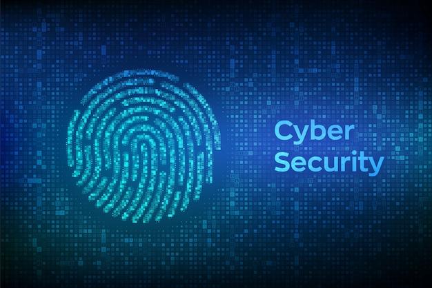 Vingerafdruk gemaakt met binaire code. biometrische identificatie en goedkeuring. Premium Vector