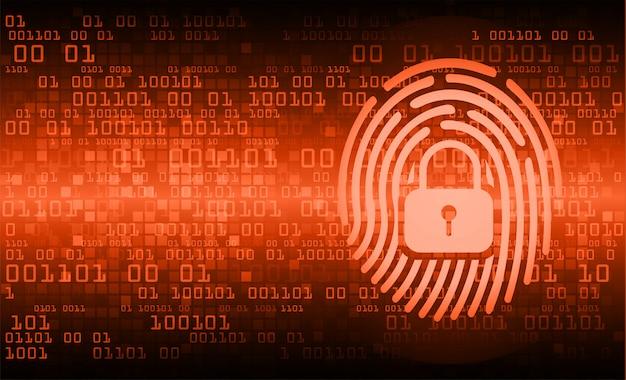 Vingerafdruk netwerk cyberbeveiligingsachtergrond. gesloten hangslot Premium Vector