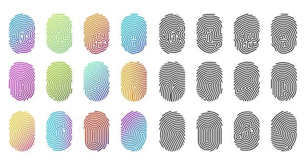 Vingerafdrukpictogrammen, vingerafdrukken in zwart en kleurverlooppatroon, logosjablonen. abstracte vingerafdrukborden, id biometrische identiteit, digitale scan of beveiligingstoegang en pasvergrendelingstechnologie Premium Vector