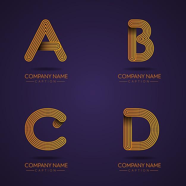 Vingerafdrukstijl professionele letter abcd-logo's Premium Vector