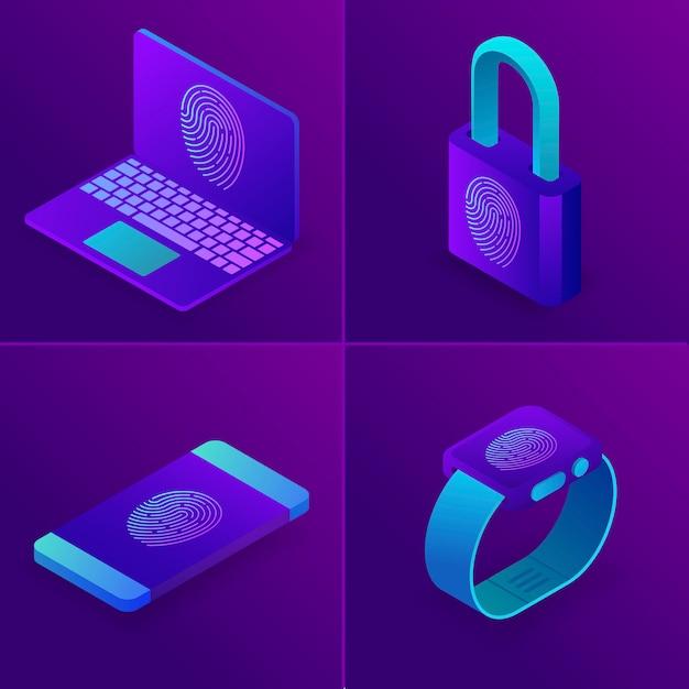 Vingerafdruktoegang tot laptop, horloge, telefoon, bedrijfsveiligheidsconcept. Premium Vector