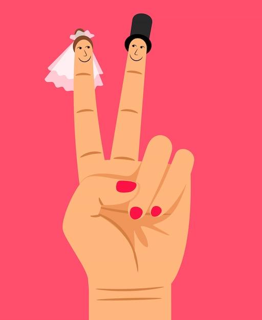 Vingerpoppetjes van bruid en bruidegom op vrouwenhand Premium Vector