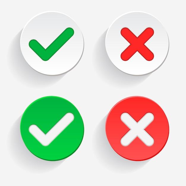 Vinkje groen vinkje en rood kruis van goedgekeurde en afgekeurde cirkelsymbolen ja en nee-knop voor stemmen, besluit, web. vector illustratie pictogram Premium Vector