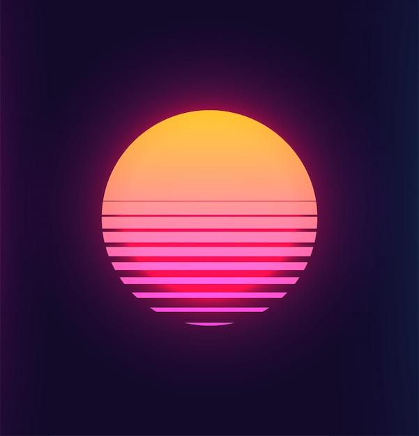 Vintage 80s kleurrijke retro zonsondergang futuristische achtergrond Premium Vector