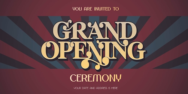 Vintage achtergrond met grote opening teken banner, illustratie, uitnodigingskaart. sjabloon flyer, uitnodigen voor openingsceremonie Premium Vector