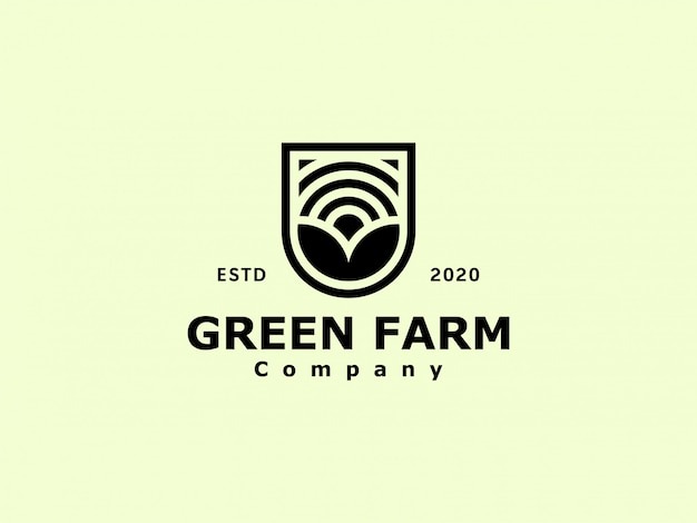 Vintage agronomy farm-logo Premium Vector
