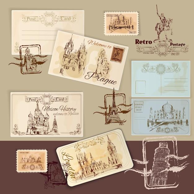 Vintage ansichtkaarten sjabloon Gratis Vector