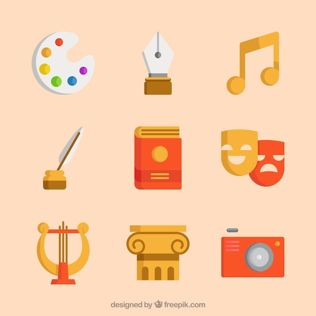 Vintage art symbolen vector set Gratis Vector