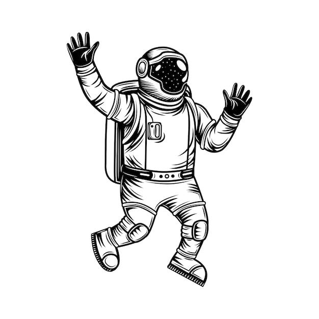 Vintage astronaut in een ruimtepak die universum vectorillustratie verkennen. monochrome kosmonaut in open ruimte. Gratis Vector