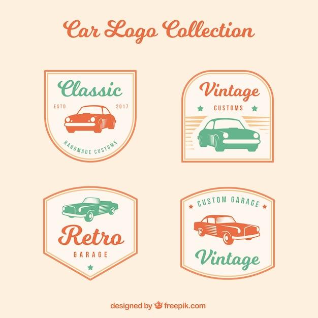 Vintage auto logo pack Gratis Vector