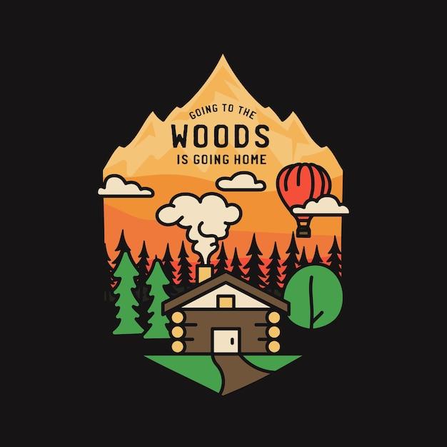 Vintage avontuur badge afbeelding ontwerp. buitenlogo met hut, bomen, bergen en tekst - naar het bos gaan is naar huis gaan. ongewone camping embleem in hipster-stijl. Premium Vector