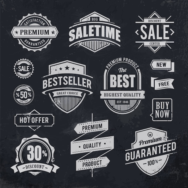 Vintage badge collectie Gratis Vector