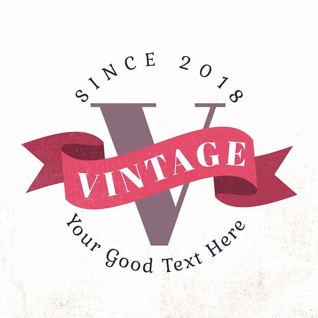 Vintage badge met een spandoek vector Gratis Vector