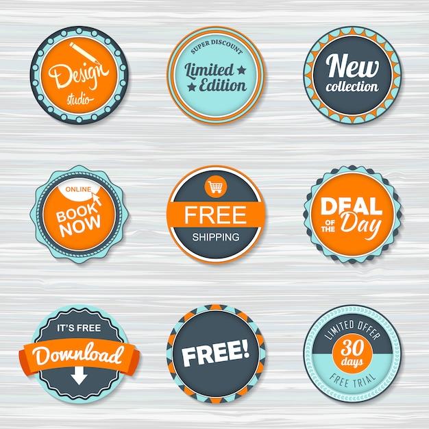 Vintage badges set: gratis verzending, gratis, download, nieuwe collectie, deal van de dag, boek nu. Premium Vector