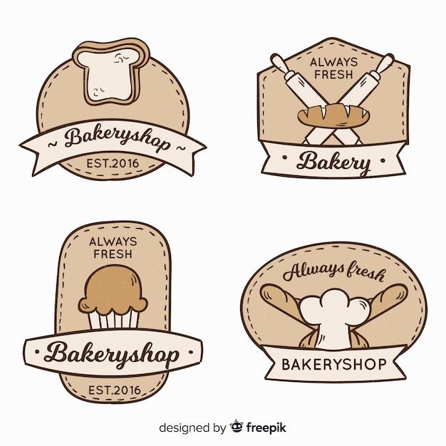 Vintage bakkerij logo's Gratis Vector