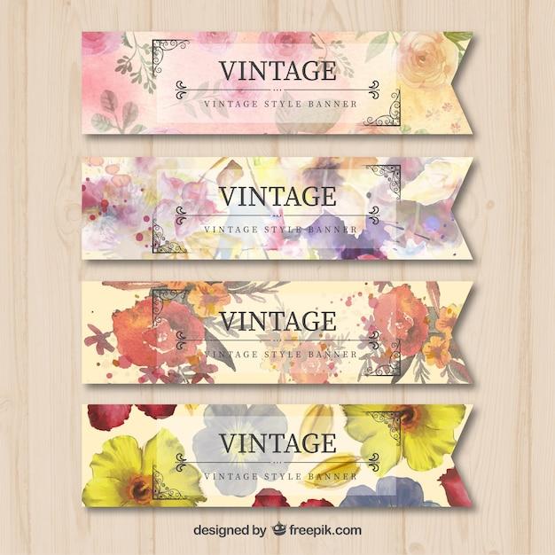 Vintage banners met waterverf bloemen Gratis Vector