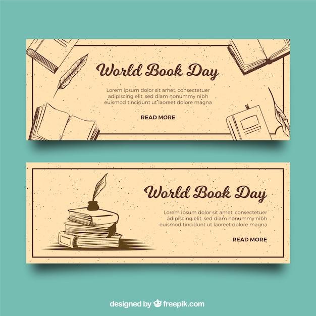 Vintage banners voor de dag van het boek van de wereld Gratis Vector