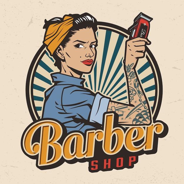 Vintage barbershop kleurrijke label Gratis Vector