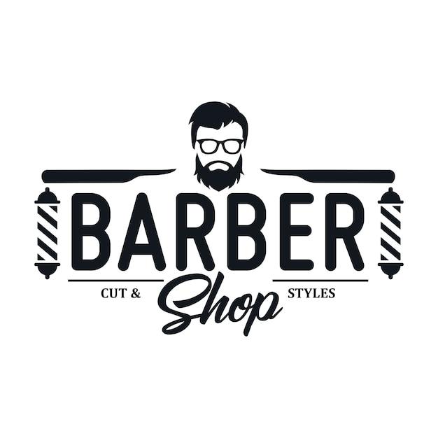 Vintage barbershop logo sjablonen Premium Vector