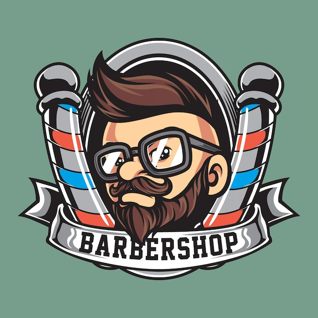 Vintage barbershop mascot logo Premium Vector
