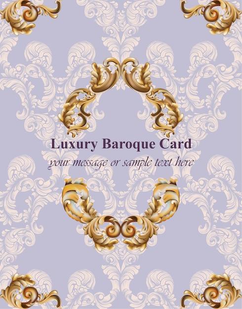 Vintage barok kaart achtergrond vectorillustraties goud en lavendel kleuren rijke stijl Premium Vector