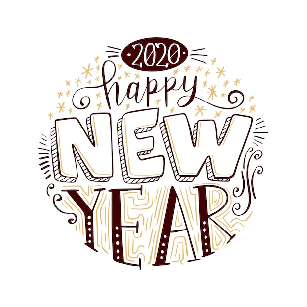 Vintage belettering gelukkig nieuw jaar 2020 Gratis Vector