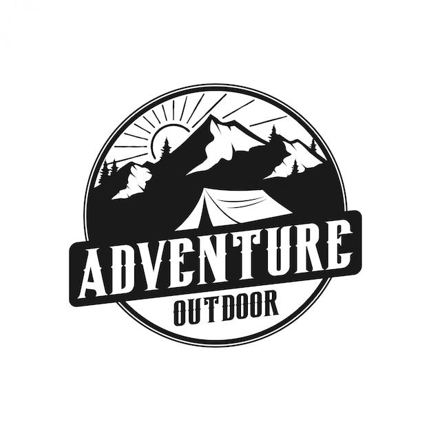 Vintage berg logo monogram stijl - outdoor wildlife Premium Vector