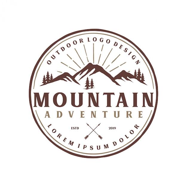 Vintage berg logo monogram stijl Premium Vector