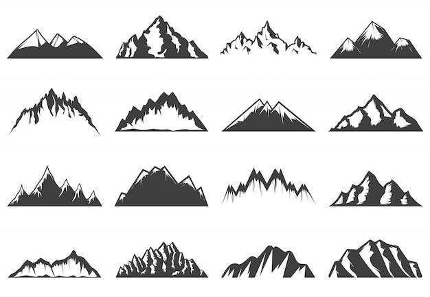 Vintage bergen collectie Gratis Vector
