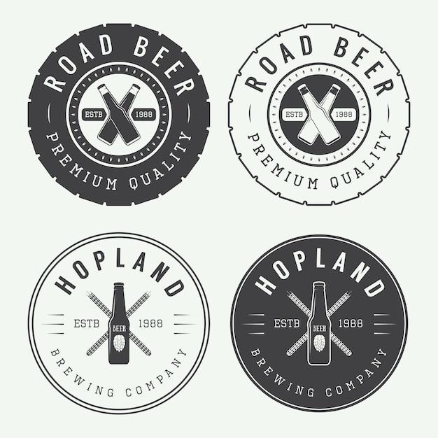 Vintage bier en pub logo set Premium Vector