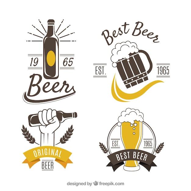 Vintage bier logo collectie Gratis Vector