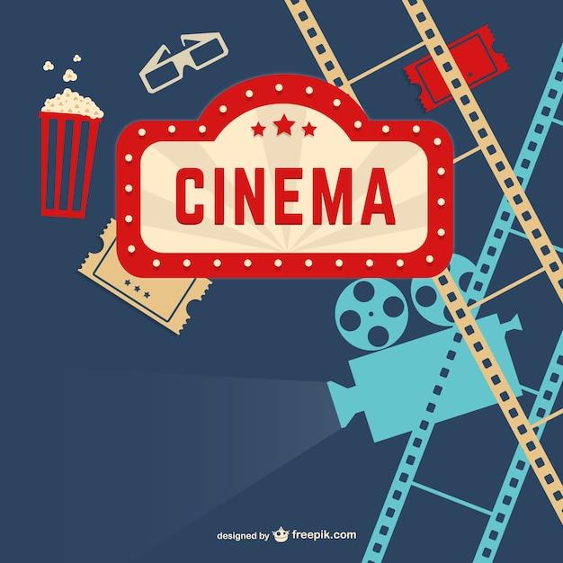 Vintage bioscoop Gratis Vector