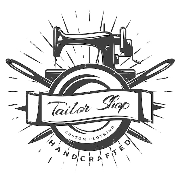 Vintage black tailor labelsjabloon Gratis Vector