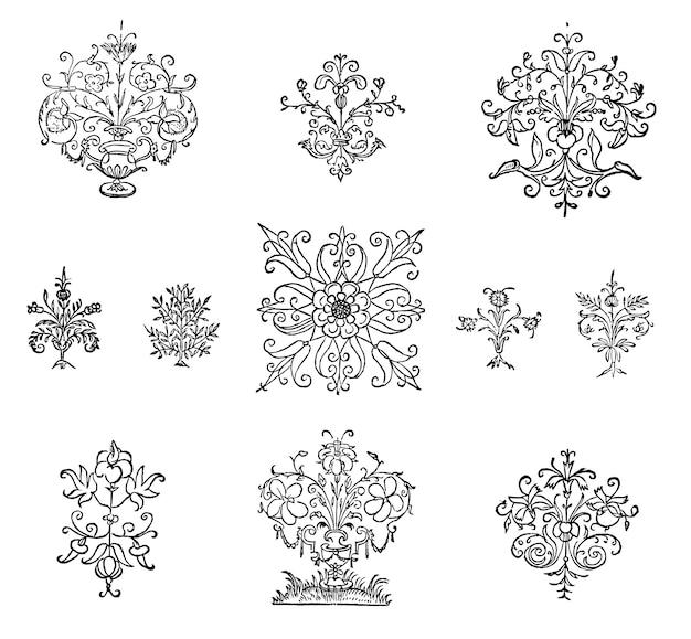 Vintage bloeien ornament illustratie Gratis Vector