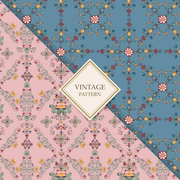 Vintage bloeien patronen Gratis Vector