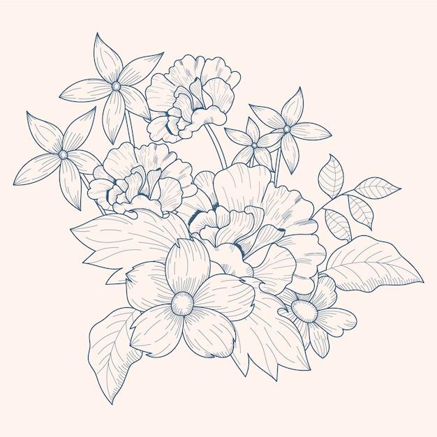 Vintage bloemen boeket tekening Gratis Vector