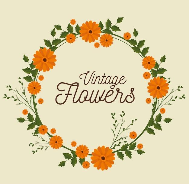 Vintage bloemen frame decoratie Gratis Vector