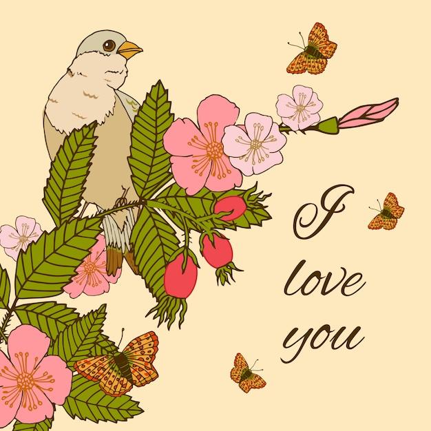 Vintage bloemen illustratie met vogel Gratis Vector