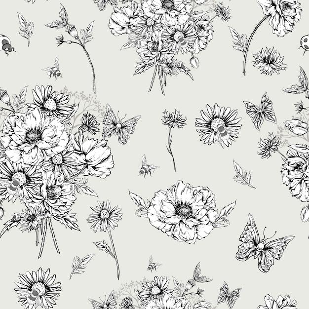 Vintage bloemen kaart met rozen en wilde bloemen Premium Vector