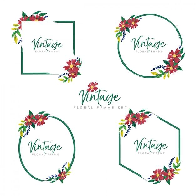 Vintage bloemen kaderset Premium Vector