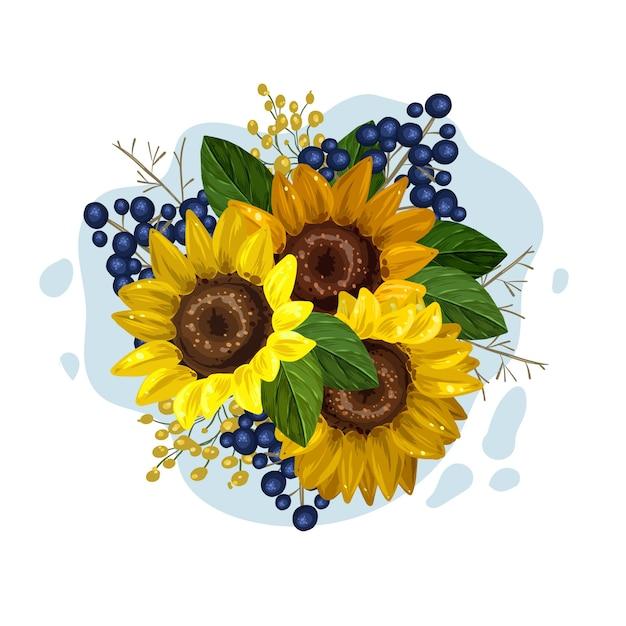 Vintage bloemenboeket van prachtige zonnebloemen Gratis Vector