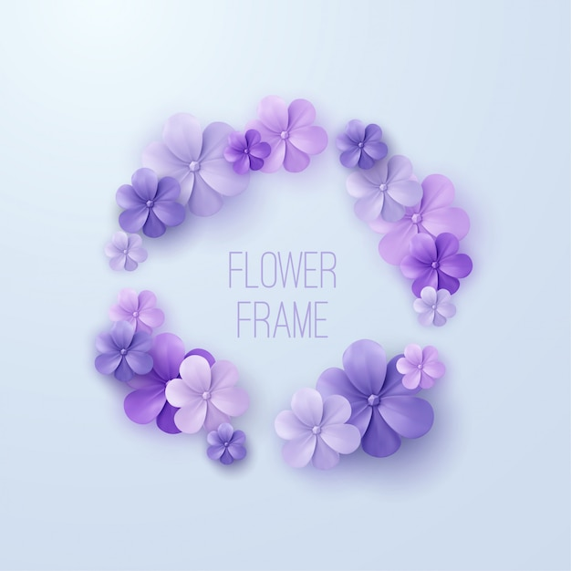 Vintage bloemenframe. van paarse bloemenkrans. decoratie-element voor bruiloft uitnodiging. Premium Vector