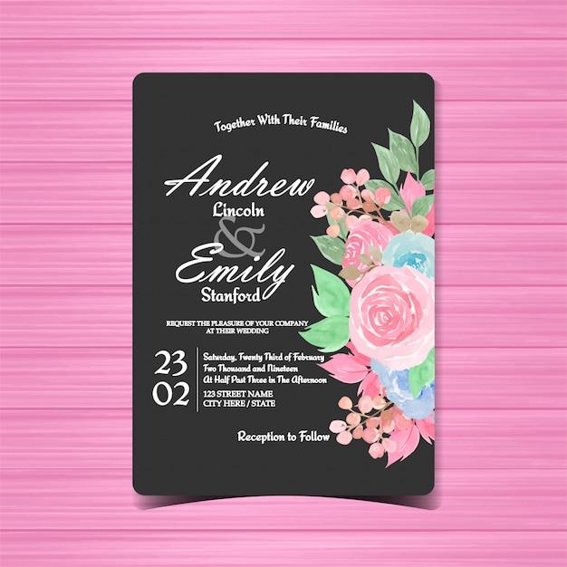 Vintage bloemenhuwelijksuitnodiging Premium Vector
