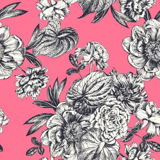 Vintage bloemenillustratie, etshand getrokken klemart. Premium Vector