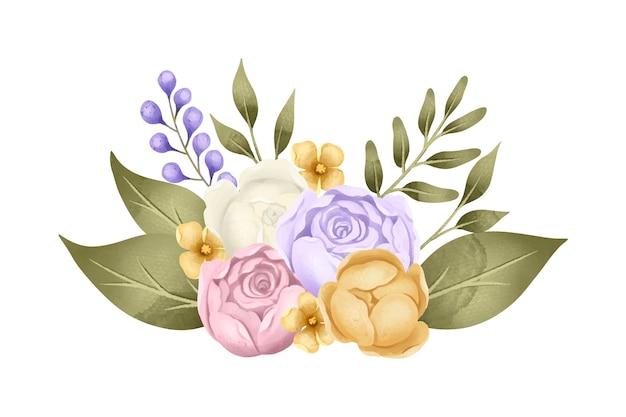 Vintage bloemstuk Gratis Vector