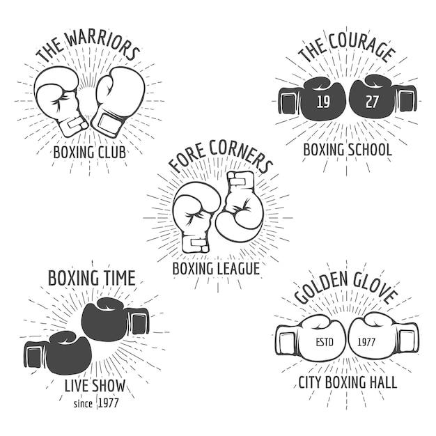 Vintage boksen logo set Gratis Vector