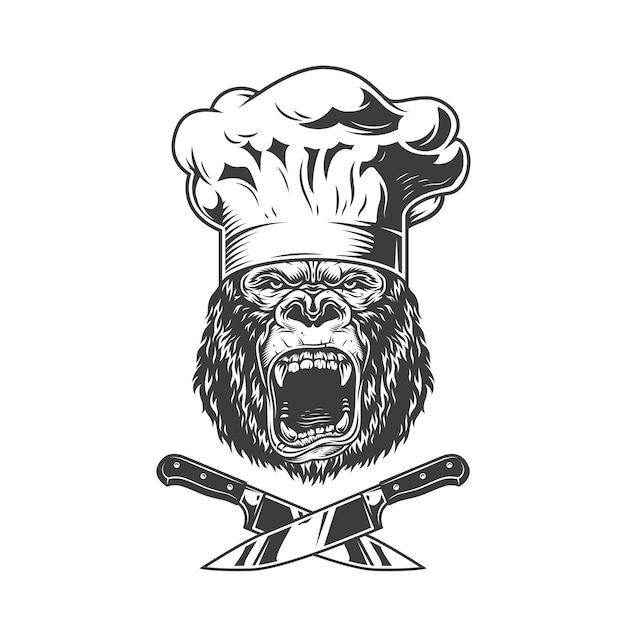 Vintage boos chef gorilla hoofd Gratis Vector