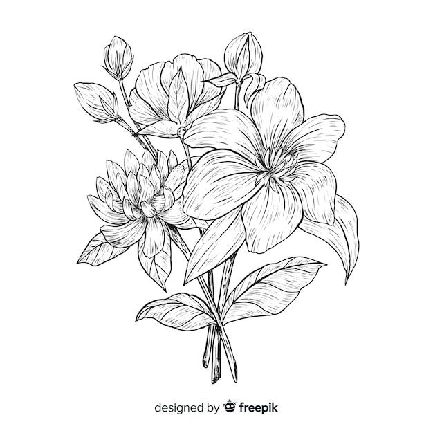 Vintage botanisch bloemboeket Gratis Vector