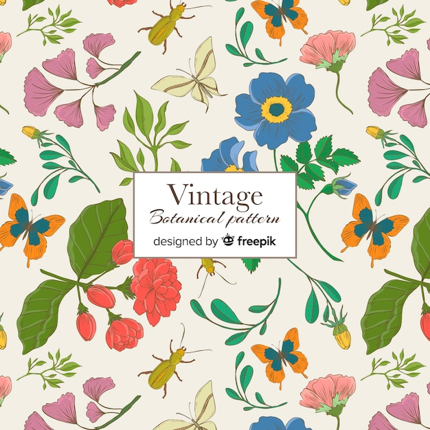 Vintage botanisch patroon Gratis Vector