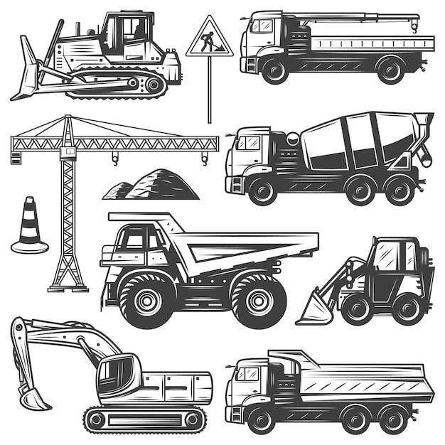 Vintage bouwmachines set met bulldozers graafmachine kraan bouwen betonmixer en dump trucks geïsoleerd Gratis Vector